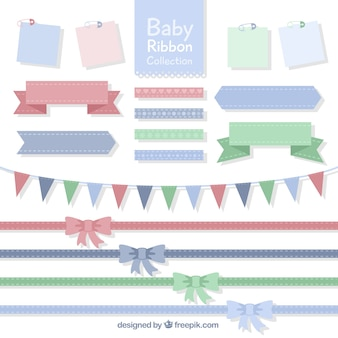 Fantastic pack of baby ribbons in pastel colors