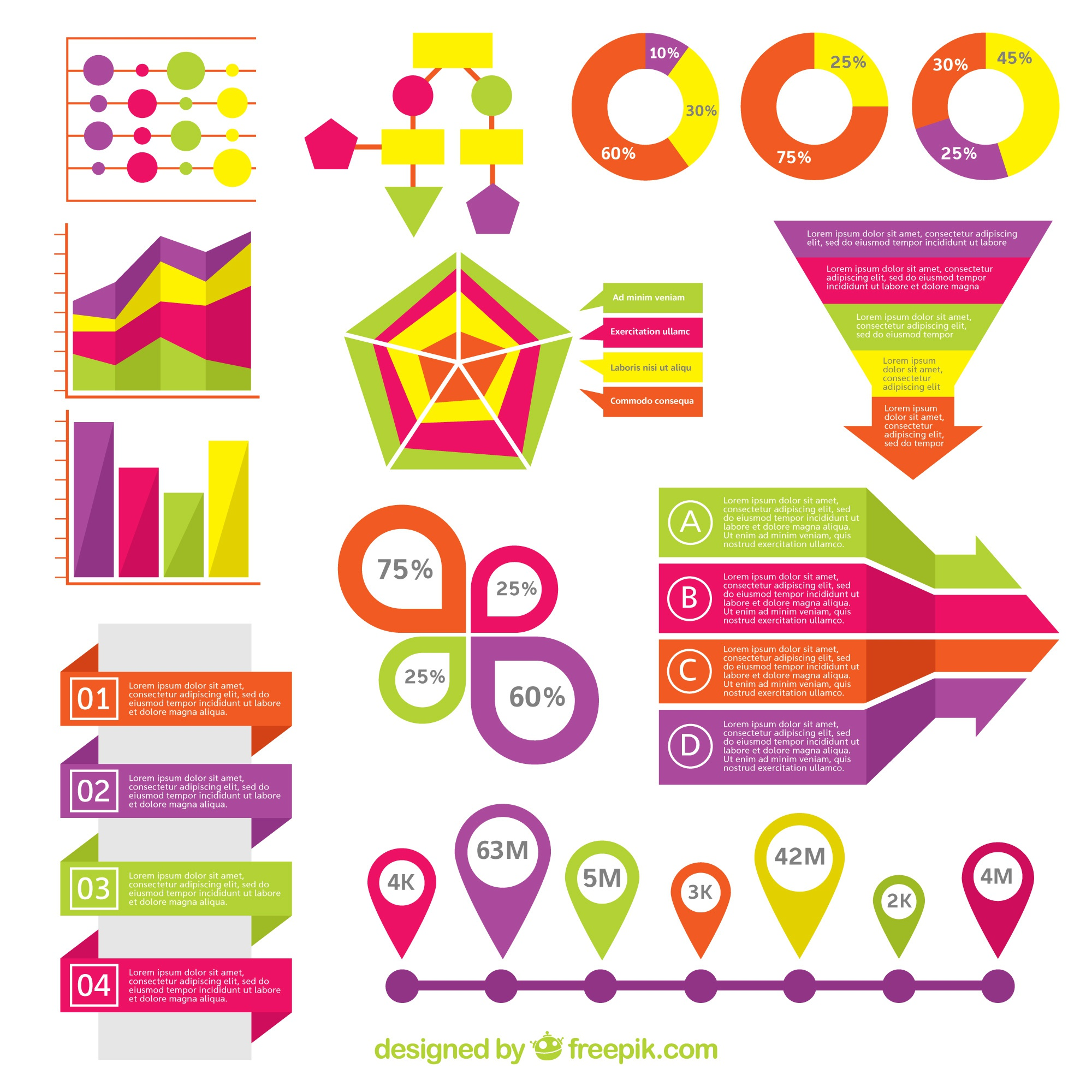 Fantastic pack of colorful elements for infographics