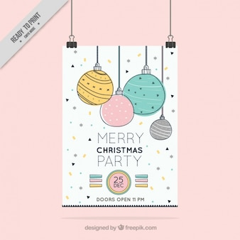 Fantastic party poster with hand-drawn christmas balls