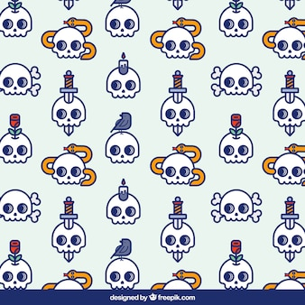 Fantastic pattern of skulls with decorative objects