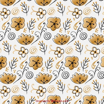 Fantastic pattern with hand-drawn golden flowers
