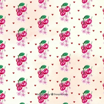 Fantastic pattern with hearts and cherries