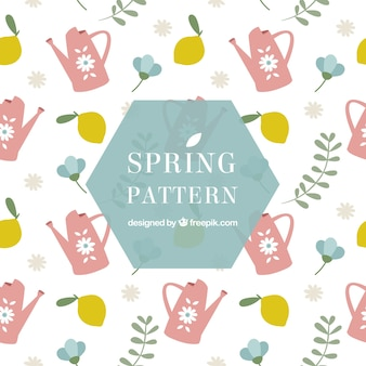 Fantastic pattern with lemons and watering cans