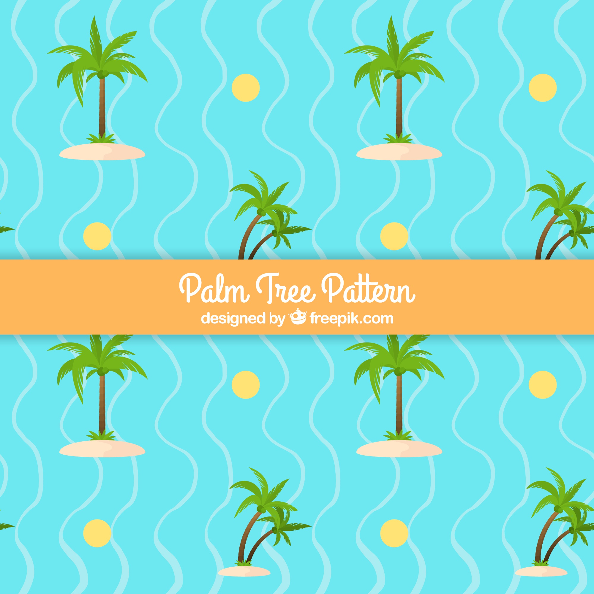 Fantastic pattern with palm trees and wavy lines