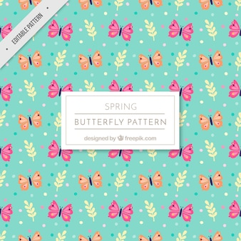 Fantastic pattern with pink and orange butterflies