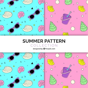 Fantastic patterns with hand-drawn summer elements