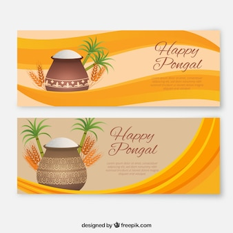 Fantastic pongal banners with wavy background