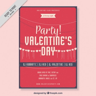 Fantastic poster template of valentine's day party