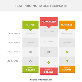 Fantastic price table in flat design