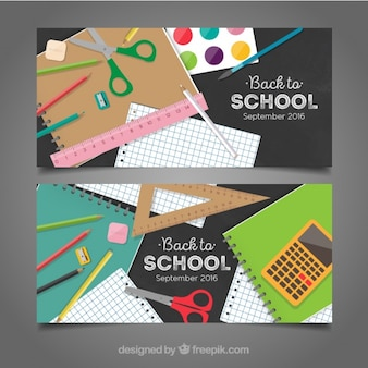 Fantastic realistic banners for back to school