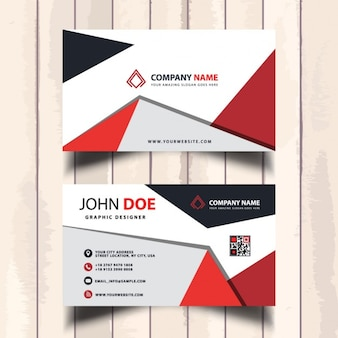 Fantastic red business card with polygonal shapes