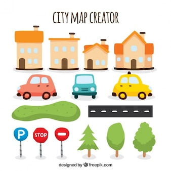 Fantastic selection of items to create a map of city