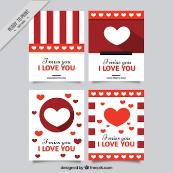 Fantastic set of four love cards with hearts