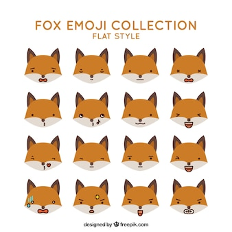 Fantastic set of fox emoticons in flat design