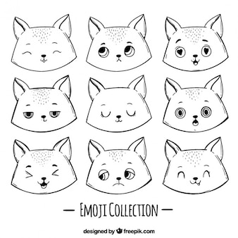 Fantastic set of hand-drawn cat emoticons