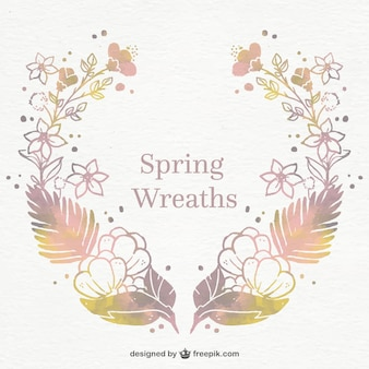 Fantastic spring wreath in watercolor style