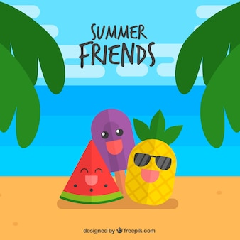 Fantastic summer background with three characters