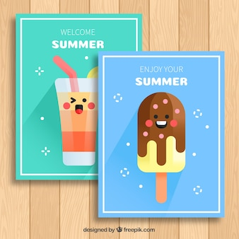 Fantastic summer cards with funny characters