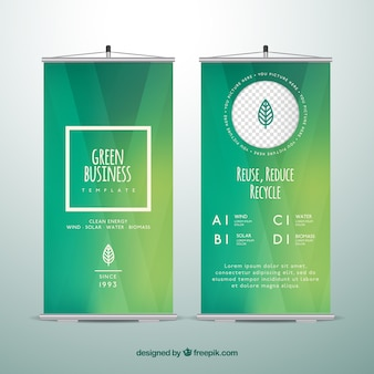 Fantastic template of business roll up in green tones