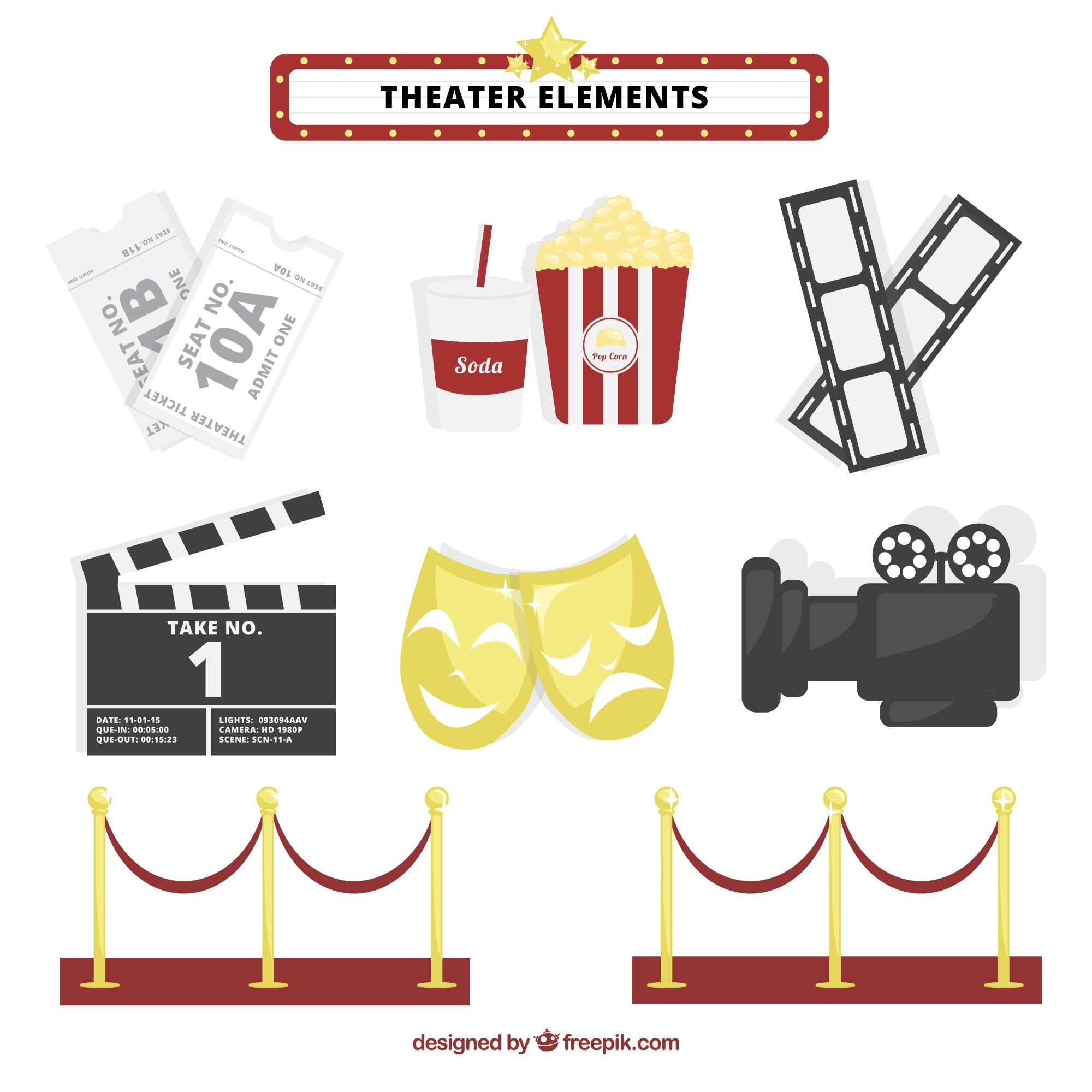 Fantastic theater elements collection
