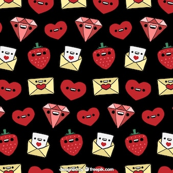 Fantastic valentines pattern with smiling characters
