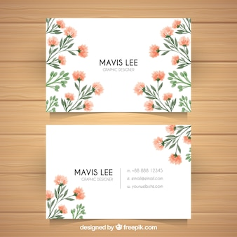 Fantastic visiting card with watercolor flowers