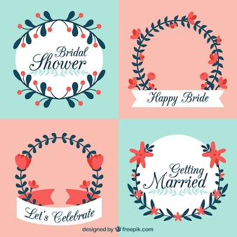 Fantastic wedding frames with red flowers in flat design