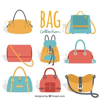Fantastic woman's bags in flat style
