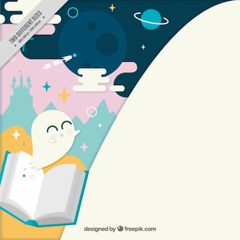 Fantastic world background with book in flat design