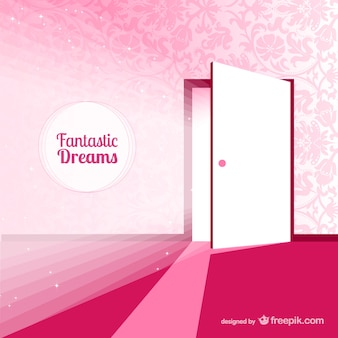 Fantasy door for dreams in pink tones