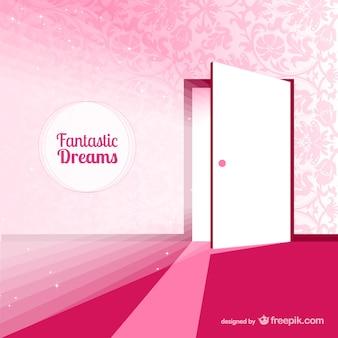 Fantasy door for dreams in pink tones