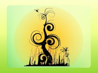 Fantasy forest tree and bird vector