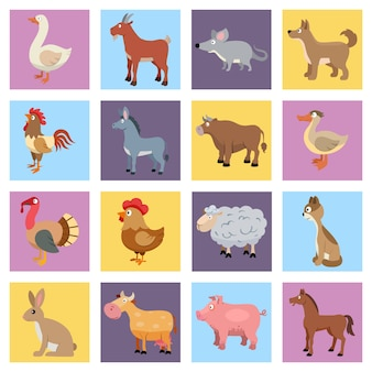 Farm animals livestock and pets icons set isolated vector illustration