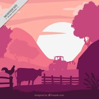 Farm background in purple tones