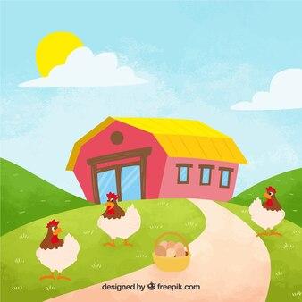 鶏と卵のバスケットのある農場の背景