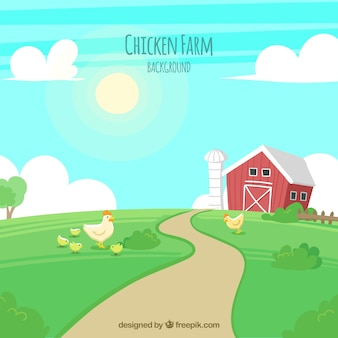 Farm background with chickens