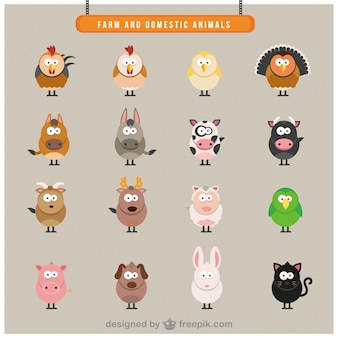 Farm domestic animals icons