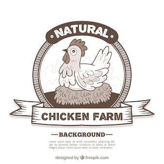 Farm hen retro badge background