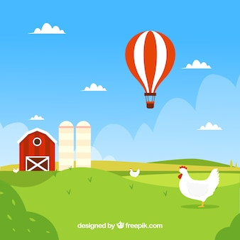 Farm landscape background with farmer and hot air balloon