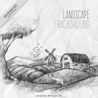 Farm landscape drawn