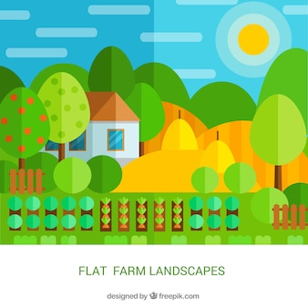 Farm landscape in flat design with crops