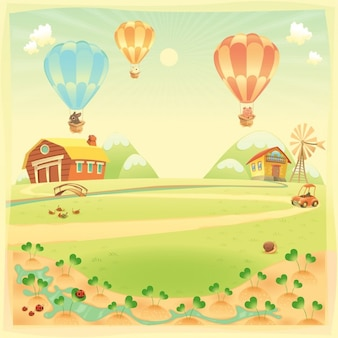 Farm landscape with balloons