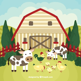 Farm with cows and hens