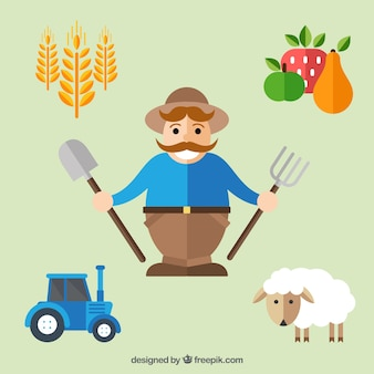 Farmer with farm elements in flat style