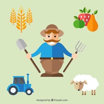 Farmer with farm elements in flat style