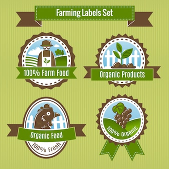 Farming harvesting and agriculture badges or labels set isolated vector illustration