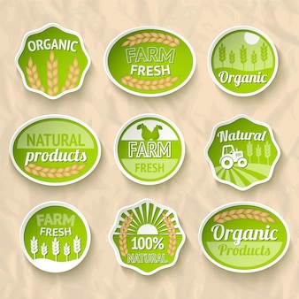 Farming harvesting and agriculture stickers set of natural organic fruits and vegetables vector illustration