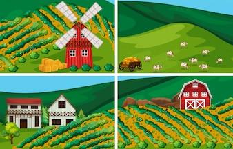 風車と納屋の農地