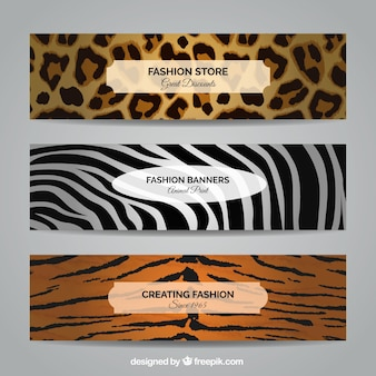 Fashion banners in animal style