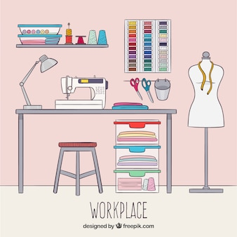 Fashion designer workspace background